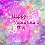Happy Valentines Day grunge hearts abstract background. In pink, turquoise, yellow, and other pastel colors. Also available as a blank background without text Stock Image
