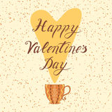 Happy Valentines Day Hand Drawing Vector Lettering design element and cup Royalty Free Stock Photos