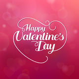 Happy Valentines Day hand drawing vector lettering design and paper heart Royalty Free Stock Photo