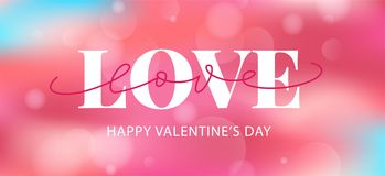 Happy Valentines Day hand drawn text greeting card. Vector illustration royalty free stock photo
