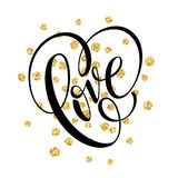 Happy Valentines Day hand lettering, with golden glitter . Vector illustration Royalty Free Stock Photos