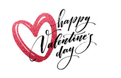 Happy Valentines Day hand lettering, with golden glitter . Vector illustration Royalty Free Stock Photo