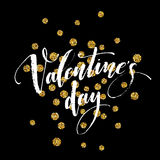 Happy Valentines Day hand lettering, with golden glitter . Vector illustration Stock Photos