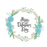 Happy Valentines Day. Hand Lettering Greeting Card. Modern Calligraphy. Vector Illustration royalty free illustration
