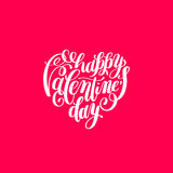 Happy valentines day handwritten lettering on heart shape holida Royalty Free Stock Image