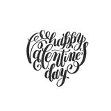 Happy valentines day handwritten lettering holiday design on hea Stock Images