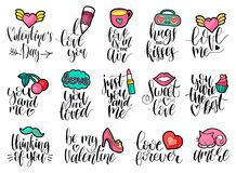 Happy Valentines day handwritten lettering set with cute patches style illustrations. February 14 modern calligraphy. Happy Valentines day handwritten lettering Royalty Free Illustration