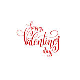 Happy valentines day handwritten red lettering holiday logo desi. Gn to greeting card, poster, congratulate, calligraphy text vector illustration Royalty Free Stock Photography