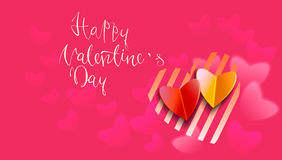 Happy valentines day handwritten text on blurred background. Vector illustration EPS10.  Royalty Free Stock Photo