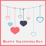 Happy Valentines Day. Hanging Hearts Royalty Free Stock Photography