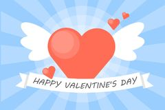 Happy valentines day. Happy valentines day card for greeting with heart with wings Vector Illustration