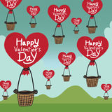 Happy Valentines Day With heart Air Balloon Stock Photography