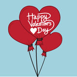 Happy Valentines Day With heart Air Balloon Stock Photo