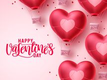 Free Happy Valentines Day Heart Balloon Vector Background. Valentines Day Greeting Text With Flying Heart Air Balloon Royalty Free Stock Image - 206118256