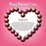 Happy Valentines Day. Heart from billiard balls royalty free illustration