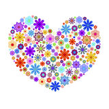 Happy Valentines Day Heart with Colorful Flowers Stock Photography