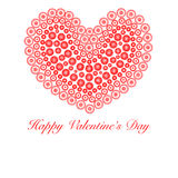 Happy Valentines Day Heart with Flower Circles Royalty Free Stock Images