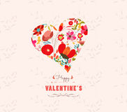 Happy valentines day with heart  flowers Floral background Stock Images