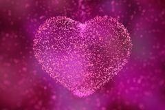 Happy Valentines Day. heart of glowing particles. 3d illustratio. N Royalty Free Stock Image