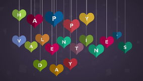 Happy Valentines Day. heart hanging on thread, Video animation, motion graphic design. Animated many moving hearts expand form a wishing celebrating valentine`s stock footage