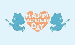 Happy Valentines day. Heart and kupiony. Little angels.  Stock Images