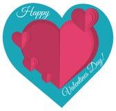 Happy valentines day heart paper art vector illustration