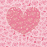 Happy Valentines Day Heart with Pink Roses Royalty Free Stock Photos