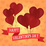 Happy Valentines Day heart shaped balloons royalty free illustration