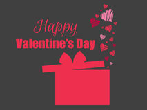 Happy Valentines Day. Hearts and gift box red. Vector. Illustration Stock Images