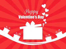 Happy Valentines Day. Hearts and gift box red. Vector. Illustration Stock Photography
