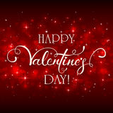 Happy Valentines Day with hearts on red background. Lettering Happy Valentines Day on red background with Valentines hearts, illustration Stock Photo