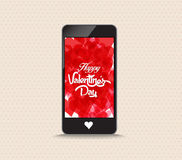 Happy valentines day with hearts red color phone Stock Photo