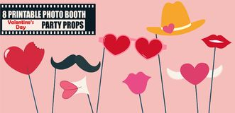 Happy Valentines day or hipster style photo booth props. Vector illustration. Collection of icons with valentine celebration design elements - lips, heart Stock Photography