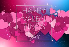 Happy Valentines Day Holiday Decoration Poster Or Card With Pink Paper Cut Hearts Background. Vector Illustration Royalty Free Stock Photos