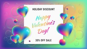 Happy valentines day horizontal background. With rainbow holographic hearts and spheres. 3D vector sale illustration. Holiday discount and 30 off sale. Great Royalty Free Stock Photo