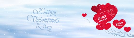 Happy Valentines Day Horizontal Banner With Calligraphic Lettering And Red Balloons Heart Shapes Love Background Stock Images