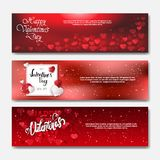 Happy Valentines Day Horizontal Banners With Handwritten Calligraphy Lettering On Red Bokeh Background Posters Set. Vector Illustration Royalty Free Stock Photos