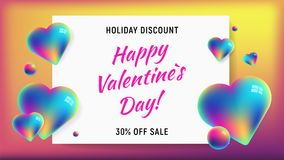Happy valentines day horizontal rainbow background. Happy valentines day horizontal background with rainbow holographic hearts and spheres. 3D vector sale Royalty Free Stock Photos