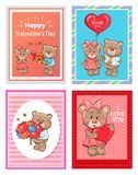 Happy Valentines Day I love you Set of Poster Bear. Happy Valentine day I love you set of posters teddy-bears with presents as balloon, bouquet of flowers, hive stock illustration
