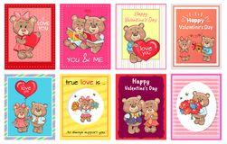 Happy Valentines Day I love you Set of Poster Bear. Happy Valentines day I love you true support set of posters heart shape balloons, cute teddy-bears with gifts vector illustration