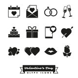 Happy Valentines Day Icon set. Set of twelve Valentines Day, Love and Romance related icons Royalty Free Stock Photos