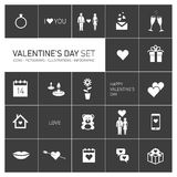 Happy valentines day icons and pictograms set black and white Royalty Free Stock Photo