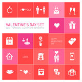 Happy valentines day icons and pictograms set Royalty Free Stock Photography