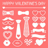 Happy valentines day icons set. Hipster objects Royalty Free Stock Image