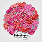 Happy Valentines Day illustration for greeting card, party invitation, web banner. Cartoon style hearts arranged in a circular sha. Pe. Vector illustration Royalty Free Stock Image