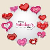 Happy Valentines Day illustration for greeting card, party invitation, web banner. Cartoon style hearts arranged in a circular sha Stock Photos