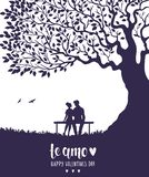 Lovers silhouette. Happy Valentines Day illustration. Romantic silhouette of loving couple under big tree. Vector illustration stock illustration