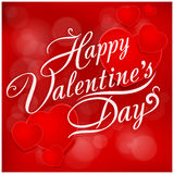 Happy Valentines Day inscription on pattern Royalty Free Stock Image