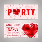 Happy Valentines Day greeting card. Happy Valentines Day invitation party card. 3d paper cut heart concept design dance flyer set. Vector invitation banner set Royalty Free Stock Images