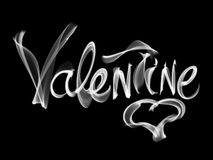 Happy Valentines day isolated words lettering written with fire flame or smoke on black background.  Stock Photos